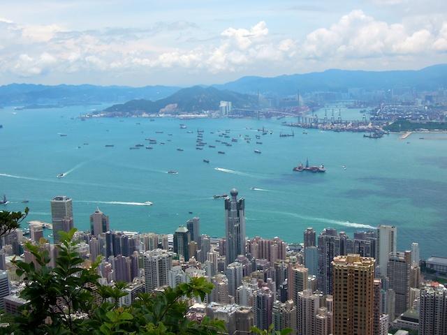 Vue sur la baie de Hong Kong à partir du Peak